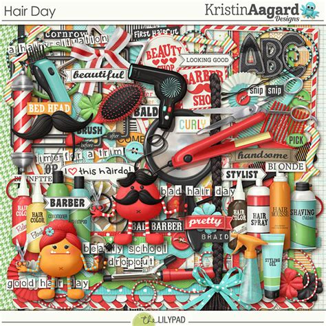 digital scrapbook kit hair day kristin aagard