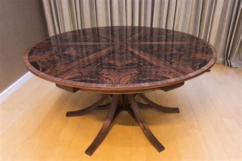 johnson furniture expanding table walnut curl expanding circular dining table johnson