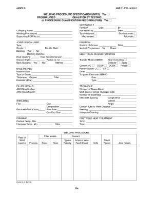 Welding Procedure Specification - Fill Online, Printable
