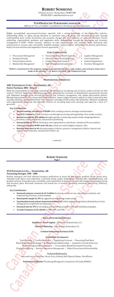purchasing manager resume exle procurement executive