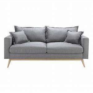 Canape 3 places en tissu gris clair duke maisons du monde for Canapé 3 places pour ensemble deco chambre bebe