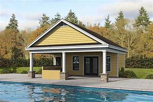 Plan, 68732vr, Poolhouse, With, Vaulted, Lanai, And, Large
