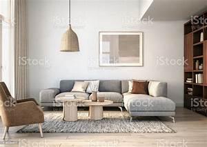 Modern, Scandinavian, Living, Room, Interior, 3d, Render, Stock