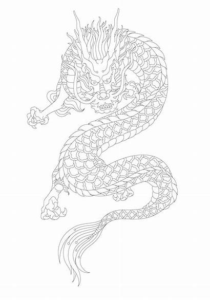 Dragon Coloring Adult Japanese Vector Clipart