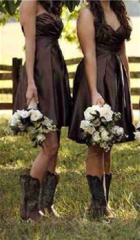 brown bridesmaids dresses  brown cowboy boots stunning