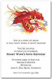 birthday party ribbons asian fire dragon invitations