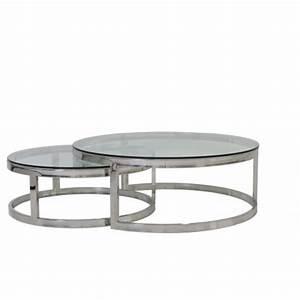Tisch Glas Metall : 2er set couchtisch rund silber glas metall tisch rund verchromt metall und glas durchmesser ~ Markanthonyermac.com Haus und Dekorationen