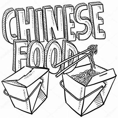 Chinese Sketch Noodles Takeout Doodle Vector Boxes