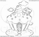 Coloring Clip Lasagna Outline Cupcake Template sketch template