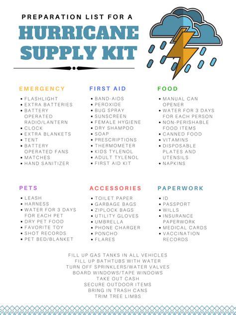 hurricane preparation supplies checklist good