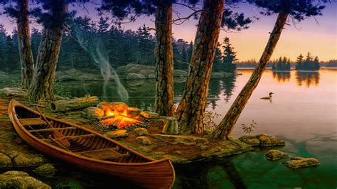 romantic background lake trees boat fire wallpaperscom