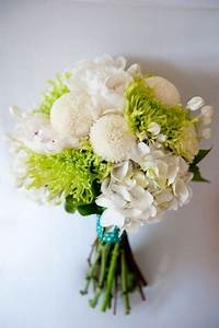 Bouquet - White pom pom dahlias or zinnias, green spider ...