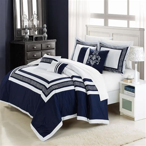 navy blue and white comforter set with geometrical borders