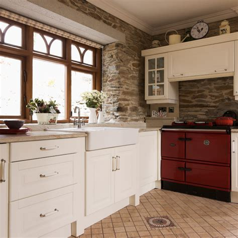 Exposed Brick Country Kitchen With Aga  Ideal Home