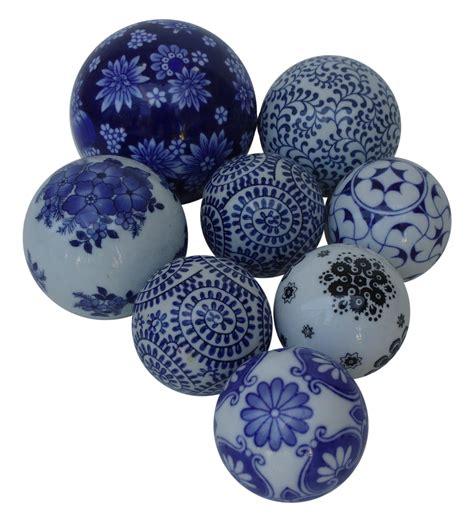 hand painted decorative ceramic balls set   chairish