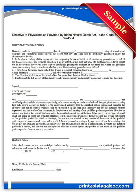 Free Printable Life Sustaining Statute, Idaho Form (generic