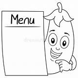 Eggplant Smiling Coloring Character Blank Menu Cartoon Illustration Happy Tray Dreamstime Cheerful Banner Spoon sketch template