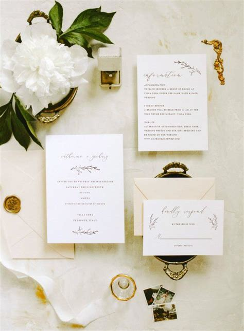 Botanical Wedding Invitation Template Set Minimal