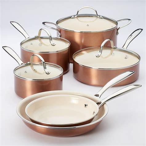 food network  pc nonstick ceramic copper cookware set