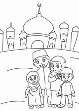 Colouring Muslim Ramadan Pages Mosque sketch template