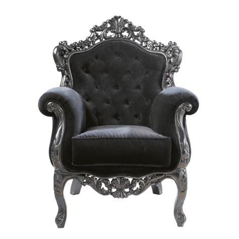 fauteuil capitonne en velours noir barocco maisons du monde