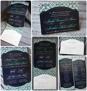 navy green gray pattern vertical trifold wedding With vertical tri fold wedding invitations