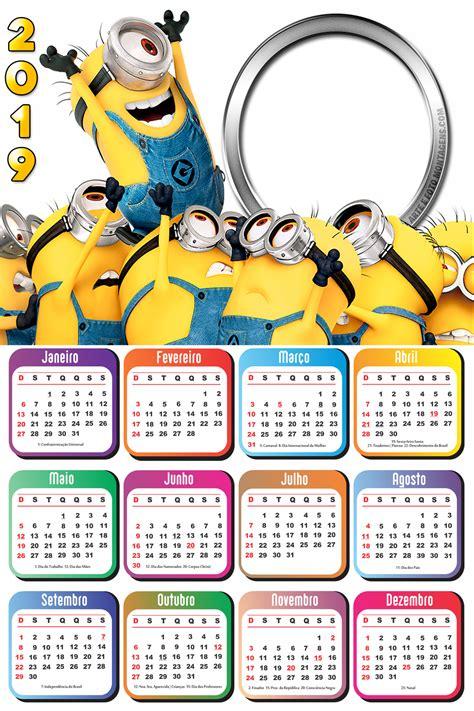 calend 225 2019 os minions imagem personalizados 2019 calendar minions e calendar