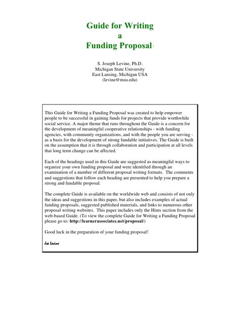 Writing A For Funding Template by Guide For Writing Funding