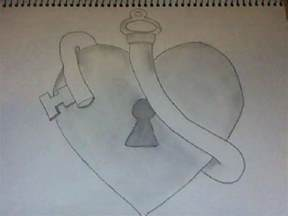 Heart Lock and Key Drawings