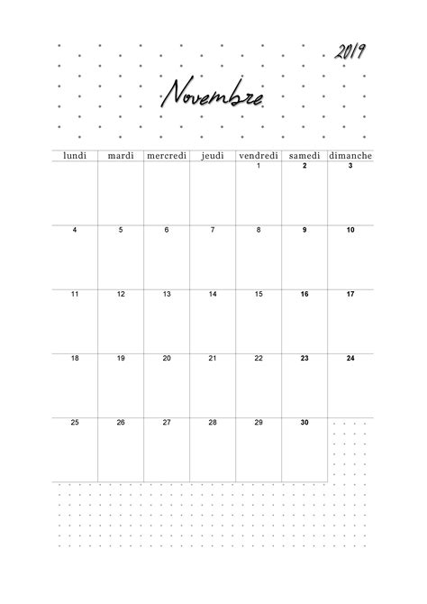 calendrier novembre   imprimer  imprimable