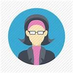 Female Team Icon Professional Glasses Person Woman