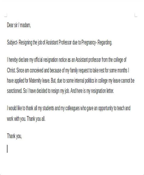 pregnancy resignation letter samples examples templates