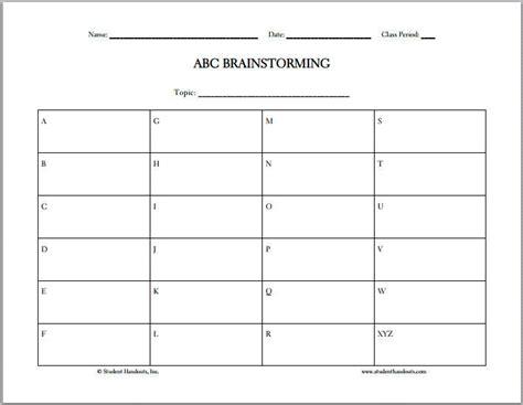 free printable abc brainstorming worksheet teacher stuff pinterest worksheets graphic
