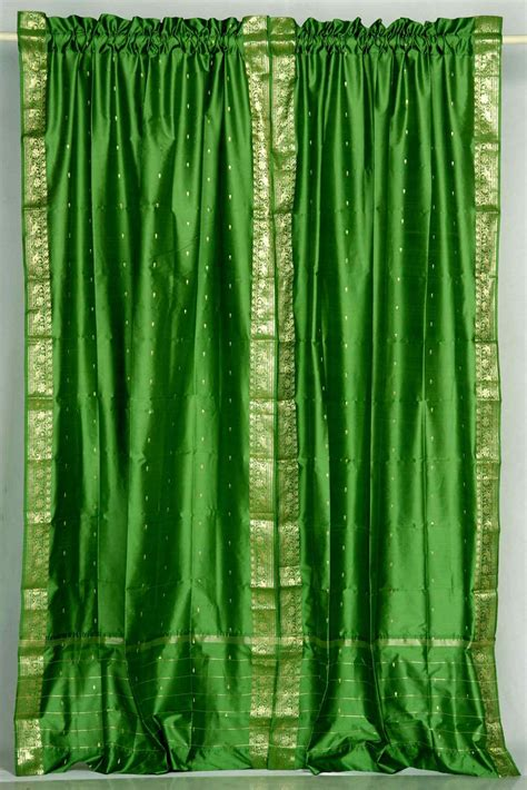forest green rod pocket sari curtain drape panel