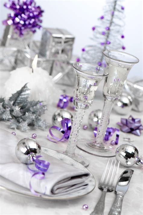silver and purple christmas table decorations christmas party table decorations ideas