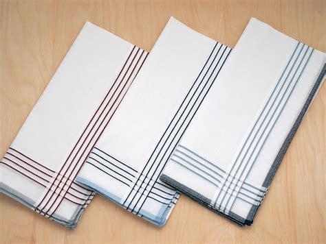 free shipping 3 mens monogrammed handkerchiefs script set of 3 white striped woven mens handkerchiefs