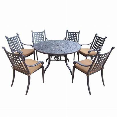 Dining Patio Piece Round Aluminum Cushions Chairs