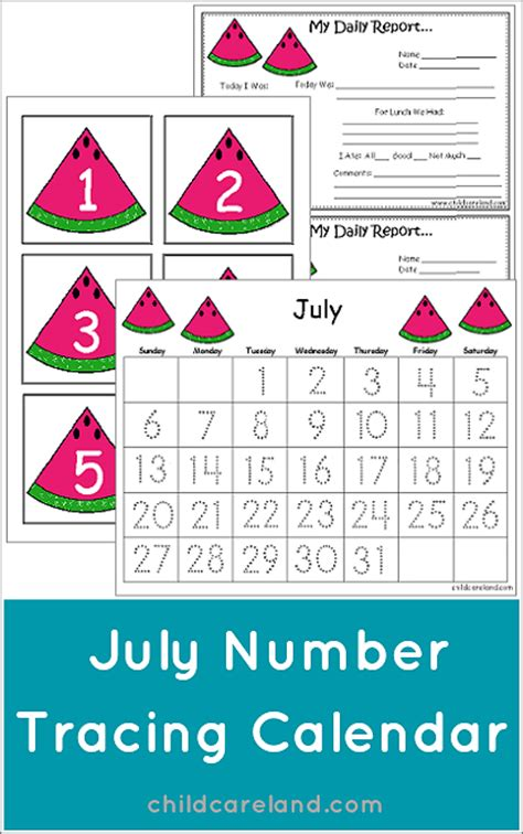 july number tracing calendar  numbers