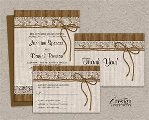 Diy printable rustic wedding invitation sets burlap and lace for Diy rustic chic wedding invitations free printable template ahandcraftedwedding