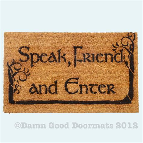 Lotr Doormat by Lotr Hobbit Trees Tolkien Speak Friend And Enter