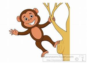 Monkey Clipart : smiling-monkey-hanging-from-tree-branch ...