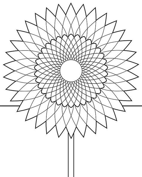 sunflower drawing coloring page  print