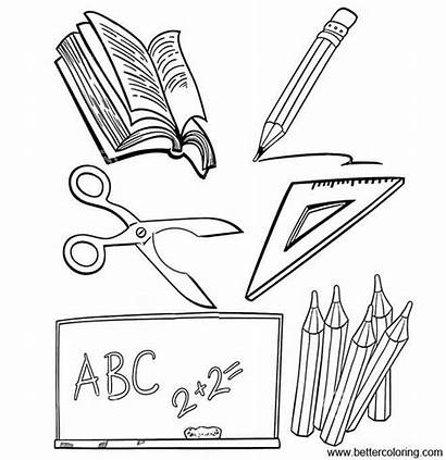Coloring Supplies Pages Objects Printable
