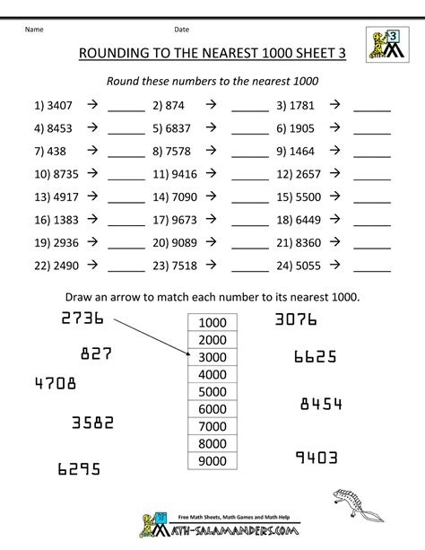 rounding numbers worksheet nearest 1000 3 school