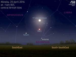 See the Moon join Mars and Saturn in the morning sky ...