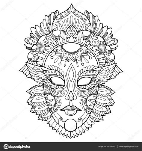 Kleurplaat Carnaval Trol Masker carnaval masker kleurplaat vectorillustratie stockvector