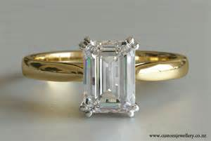 solitaire yellow gold engagement rings emerald cut solitaire engagement ring in yellow gold new zealand