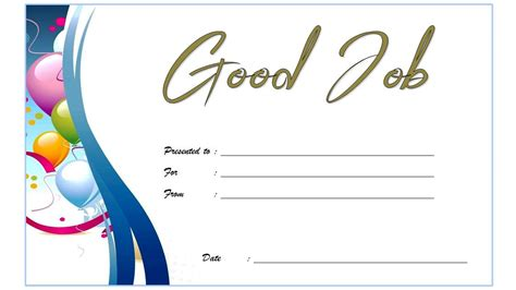 good job certificate template  great designs