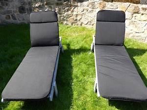 Coussins Chaises De Jardin : meubles de jardin coussin lot de 2 coussin noir pour le jardin chaise longue pr sident 198x60x5 ~ Dode.kayakingforconservation.com Idées de Décoration