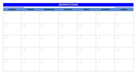 Monthly Calendar Template Printable Blank Monthly Calendar Excel Templates